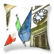 Balcony With Flags And Clock Throw Pillow