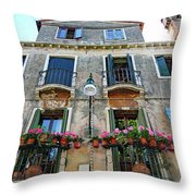 Balcony With Flowers In Venice, Italy Throw Pillow
