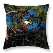 Bald Eagle In The Nest Throw Pillow