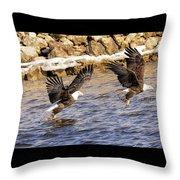 Bald Eagle Fishing Pano Throw Pillow