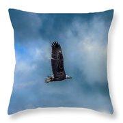 Bald Eagle Flying Across A Cloudy Sky Throw Pillow