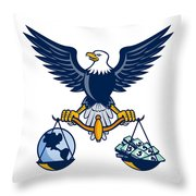 Bald Eagle Hold Scales Earth Money Retro Throw Pillow