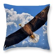 Bald Eagle In Flight Calling Out Throw Pillow