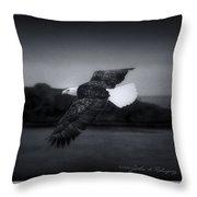 Bald Eagle In Flight Throw Pillow