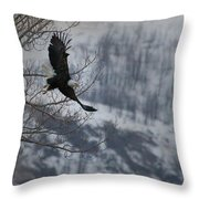 Bald Eagle In Flight-signed-#4014 Throw Pillow