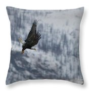 Bald Eagle In Flight-signed-#4016 Throw Pillow