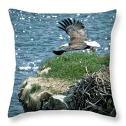 Bald Eagle Leaves Nest Throw Pillow
