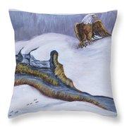 Bald Eagle On Snowdrift Wildlife Vignette Throw Pillow