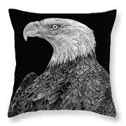 Bald Eagle Scratchboard Throw Pillow