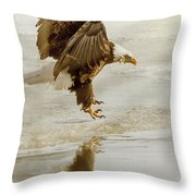 Bald Eagle Series #1 - Eagle Is Landing Throw Pillow