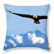 Bald Eagle Soars Over Hood Canal Throw Pillow