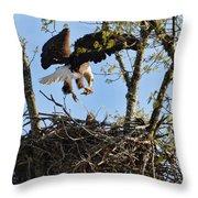 Bald Eagle Taking Fish To Nest 031520169678 Throw Pillow
