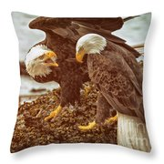 Bald Eagles Family Discussion Throw Pillow