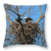 Bald Eagles Working On The Nest   3682 Throw Pillow