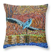 Bald Head Island, Gator, Blue Heron Throw Pillow