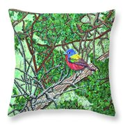 Bald Head Island, Painted Bunting At Defying Gravity Throw Pillow