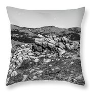 Bald Mountain Rock Formation In Black And White Throw Pillow