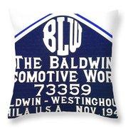 Baldwin Diesel Builders Plate Throw Pillow