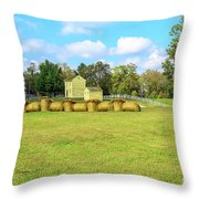 Baled Hay In A Grassy Field Throw Pillow by Richard J Thompson
