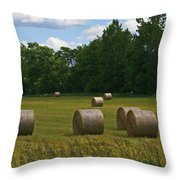 Bales In The Field Throw Pillow