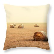 Bales In The Fog Throw Pillow
