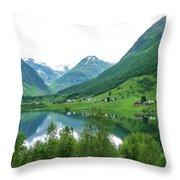 Balestrand Lake Village Throw Pillow