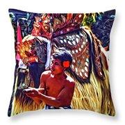 Bali Barong And Kris Dance  - Paint Throw Pillow