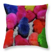 Bali Coloured Chicks Close-up Throw Pillow