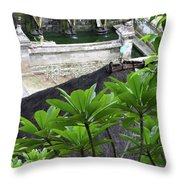 Bali Lady Fountain Throw Pillow