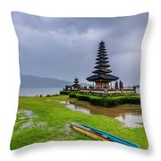 Bali Lake Temple Throw Pillow