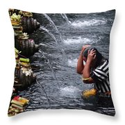 Bali Temple Fountain Cleansing Throw Pillow
