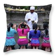 Bali Temple Women Blessing Throw Pillow