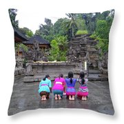 Bali Temple Women Bowing Throw Pillow
