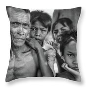Balinese Gothic Bw Throw Pillow