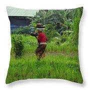 Balinese Lady Carrying Pot Throw Pillow