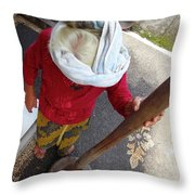 Balinese Lady Grinding Coffee Throw Pillow