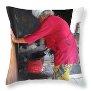 Balinese Lady Roasting Coffee Leans Again Wall Throw Pillow