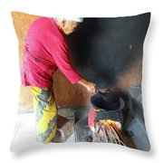 Balinese Lady Roasting Coffee Over The Fire Throw Pillow