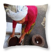 Balinese Lady Sifting Coffee Throw Pillow