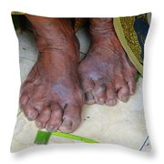 Balinese Lady's Feet Throw Pillow