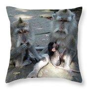 Balinese Monkey Family Throw Pillow