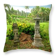 Balinese Rice Field Shrines Throw Pillow