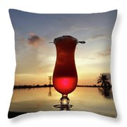 Balinese Sunset With Red Drink Throw Pillow