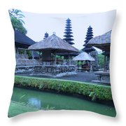 Balinese Temple By The Water Throw Pillow