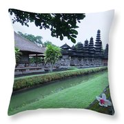 Balinese Temple With Flower Throw Pillow