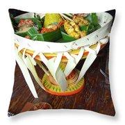 Balinese Traditional Dinner Basket Throw Pillow