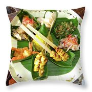Balinese Traditional Satay Dinner Throw Pillow
