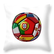 Ball With Flag Of Portugal In The Center Throw Pillow