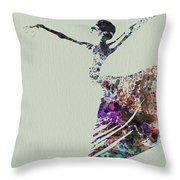 Ballerina Dancing Watercolor Throw Pillow by Naxart Studio