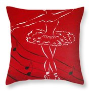 Ballerina In Red Throw Pillow